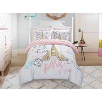 Mainstays Kids Paris Bed in a Bag Bedding w/ Reversible Comforter