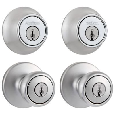 Kwikset 242 Tylo Keyed Entry Knob and Single Cylinder Deadbolt Project Pack in Satin Chrome