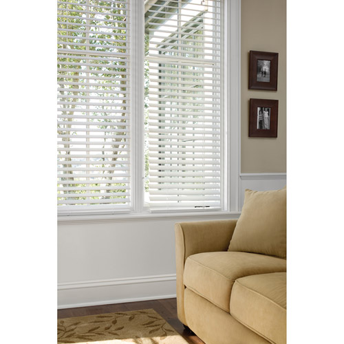 "Better Homes and Gardens 2"" Faux-Wood Window Blinds, White"
