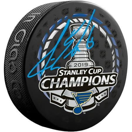 Joel Edmundson St. Louis Blues 2019 Stanley Cup Champions Autographed Stanley Cup Champions Logo Hockey Puck - Fanatics Authentic (Autographed Stanley Cup Hockey Puck)