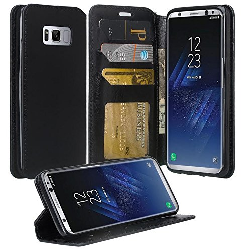 Galaxy S9 Plus Case, Samsung Galaxy S9 Plus Phone Cases, Flip Folio [Kickstand Feature] Pu Leather Wallet Case with ID & Credit Card Slot For Galaxy S9 Plus - Black