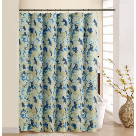 WAVERLY LEAF STORM INDIGO SHOWER CURTAIN WITH RINGS