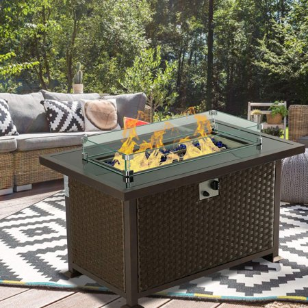 Erommy 44 Inch Outdoor Propane Fire Pit Table 50,000 BTU Gas Fire Pit Table,Wicker PE Rattan with Glass Wind Guard,Clear Glass Rocks,Cover- Brown