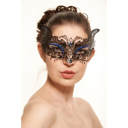 KAYSO INC BE002BLBK MYSTERIOUS FILIGREE CAT LASER CUT MASQUERADE MASK (BLACK WITH BLUE RHINESTONES)