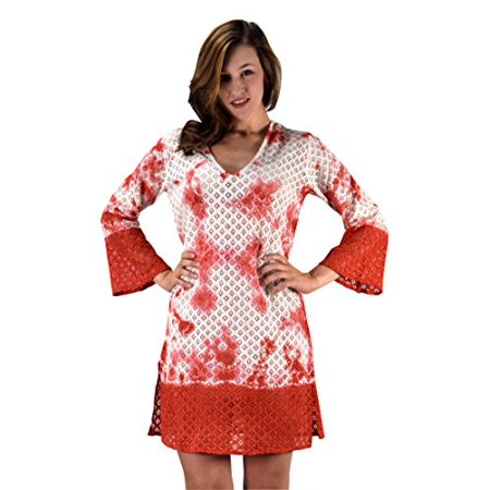 Peach Couture 100% Cotton Womens Crochet Lace Tunics Summer Cover Ups Beach Wear Large/XL ()