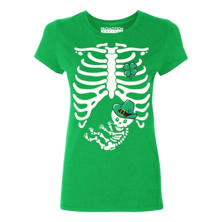 P&B Irish Baby Ribcage Pregnant St Patricks Days Women's T-shirt, M, Green](Maternity Halloween T Shirts Ireland)