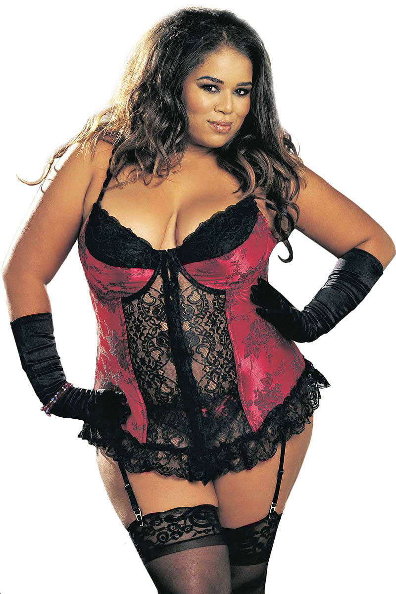 Plus Size Sexy Full Figure Curvy Jacquard Long Line Bustier ...