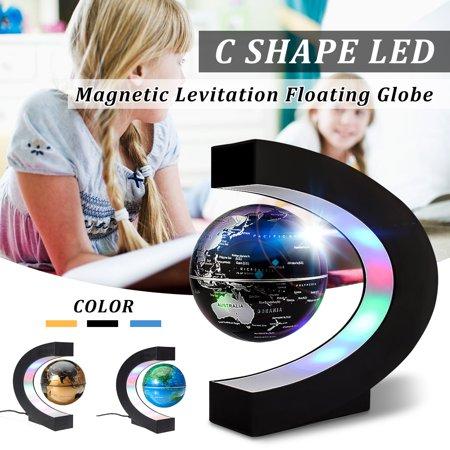 (C shape Knowledge Shape LED Light Earth Map Luminous Floating Anti Gravity Globe Magnetic Levitation World Globe Tellurion Decor Educational Xmas Toy Gift)