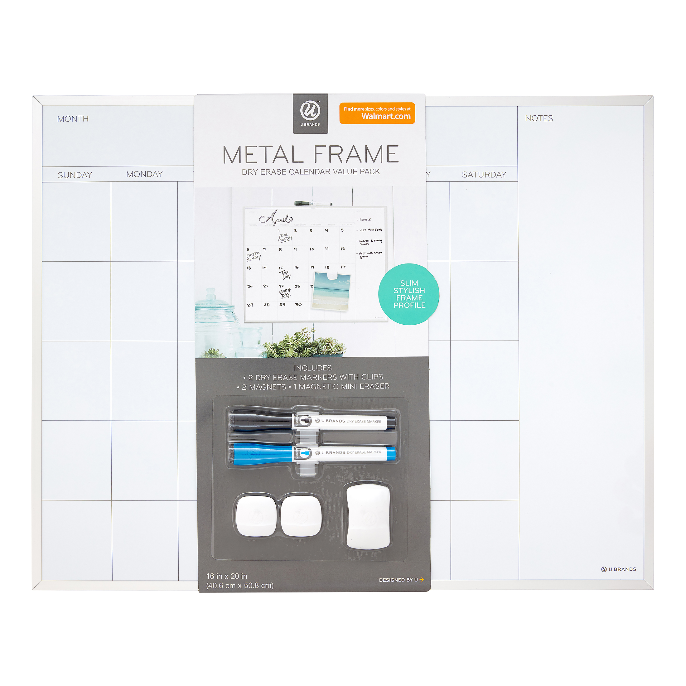 U Brands 16 x 20-inch Magnetic Dry-Erase Monthly Calendar Board