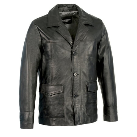 Men's Leather Car Coat Jacket w/ Button Front Ducati Corse Leather Jacket