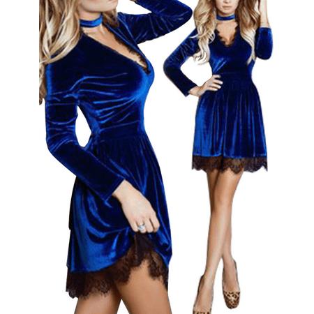 Sexy Women Velvet Mini Dress Ladies Long Sleeve Halter V neck Cocktail Party Evening Lace Dresses