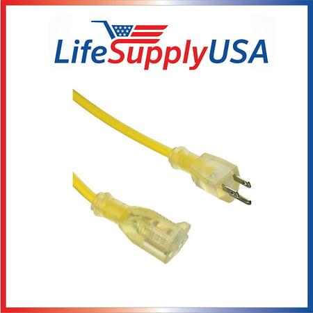 14/3 10ft SJTW Full Copper 13 Amp 300 Volt 1625 Watt Lighted End Indoor/Outdoor Extension Cord (10 -