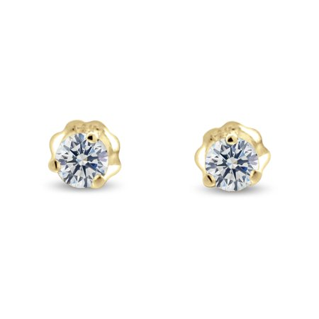 1.50 ct tw G SI Natural Round Diamond Stud Earrings Three Prong Setting 14K Yellow Gold Screw Back