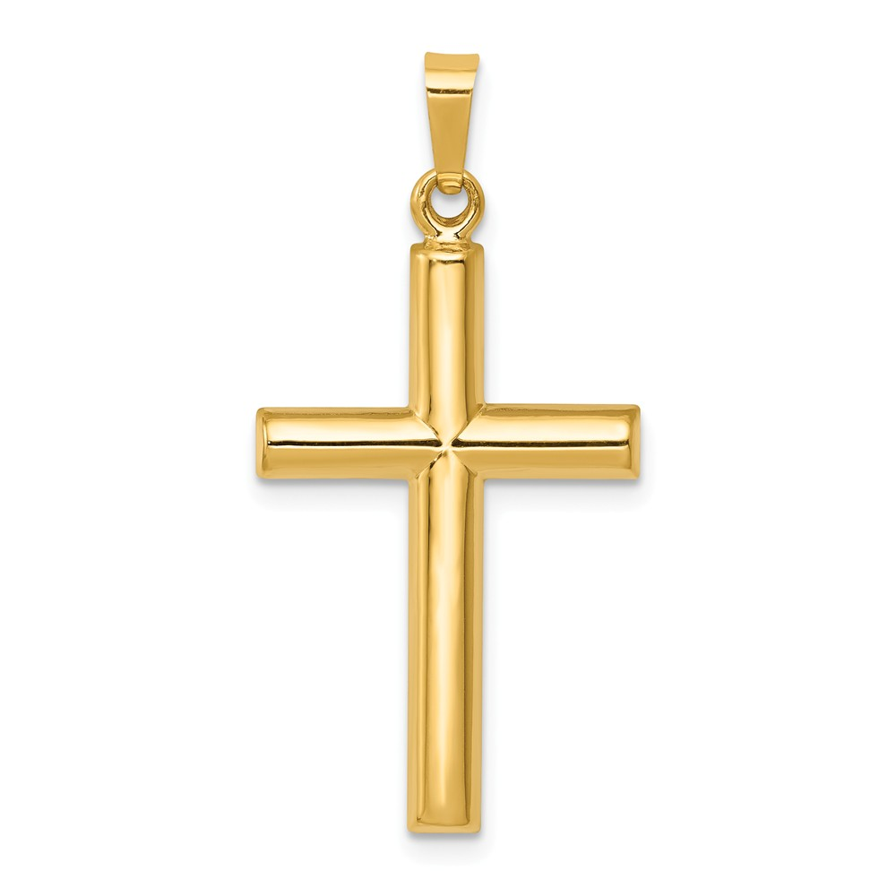 14k Yellow Gold Hollow Latin Cross Pendant