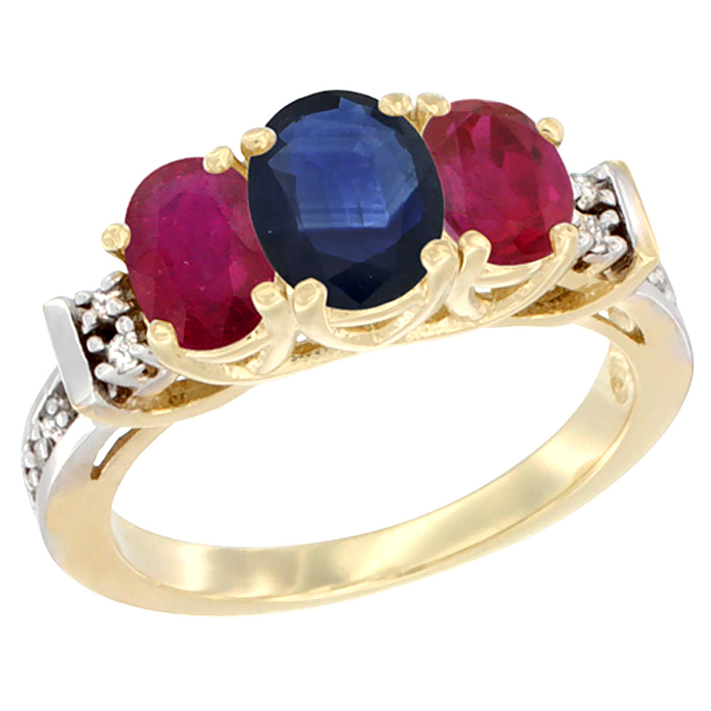 10K Yellow Gold Natural Blue Sapphire & Enhanced Ruby Ring 3-Stone Oval Diamond Accent