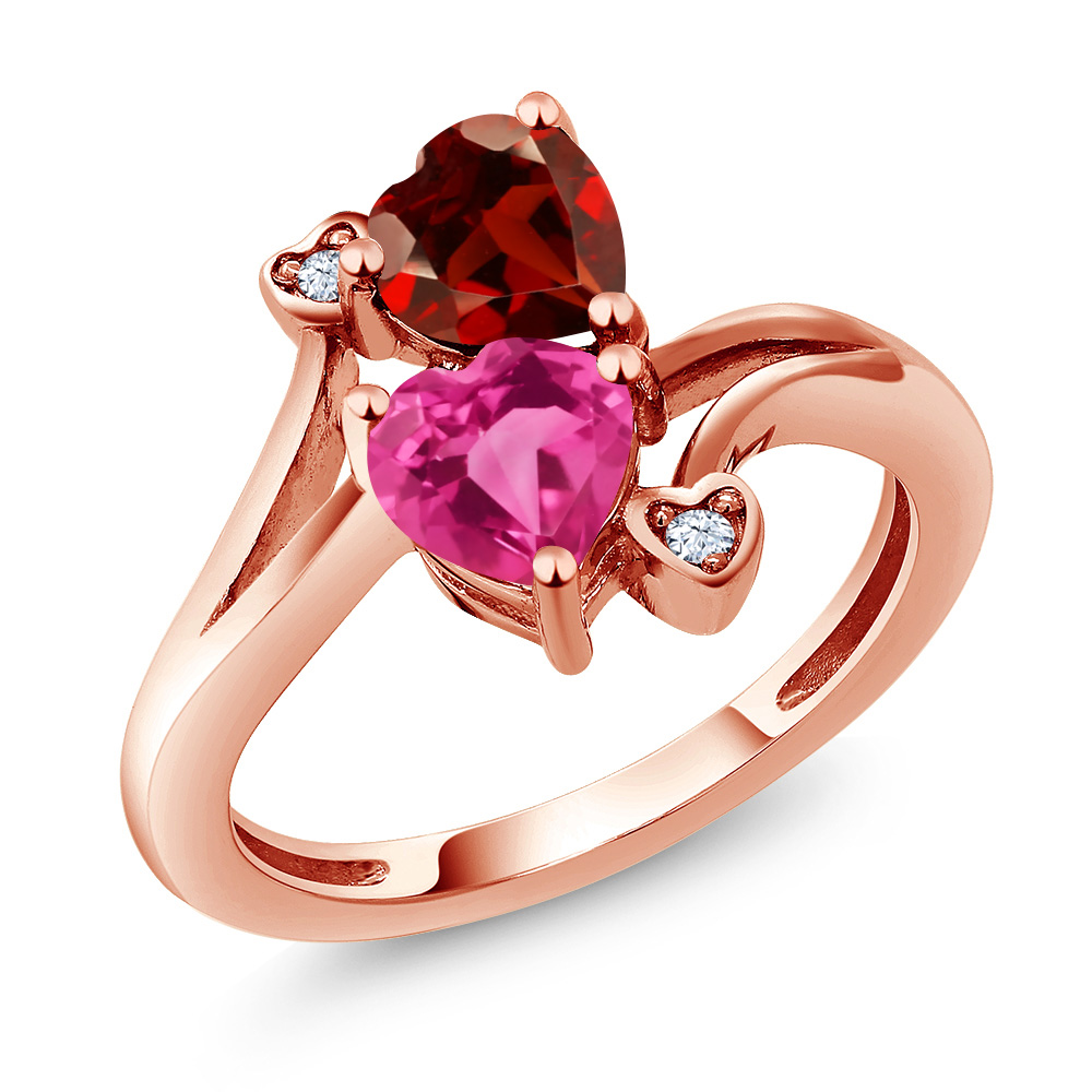 1.88 Ct Heart Shape Pink Mystic Topaz Red Garnet 14K Rose Gold Ring by