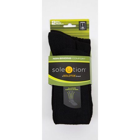 Soleution by GOLDTOE Non-Binding Comfort Unisex Super Soft Crew, 2-pair Socks