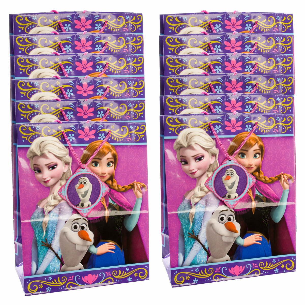Disney (12 Pack) Frozen Gift Bags 10x13 All-Occasion Large Size Gift Packages With Drawstring Handles