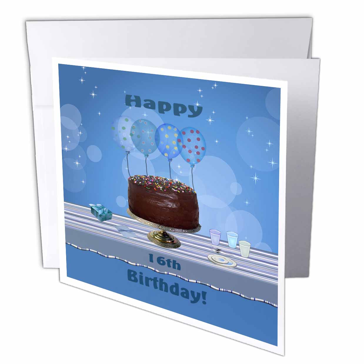 3dRose 16th Birthday Party with Chocolate Cake and Blue Balloons, Greeting Cards, 6 x 6 inches, set of 12