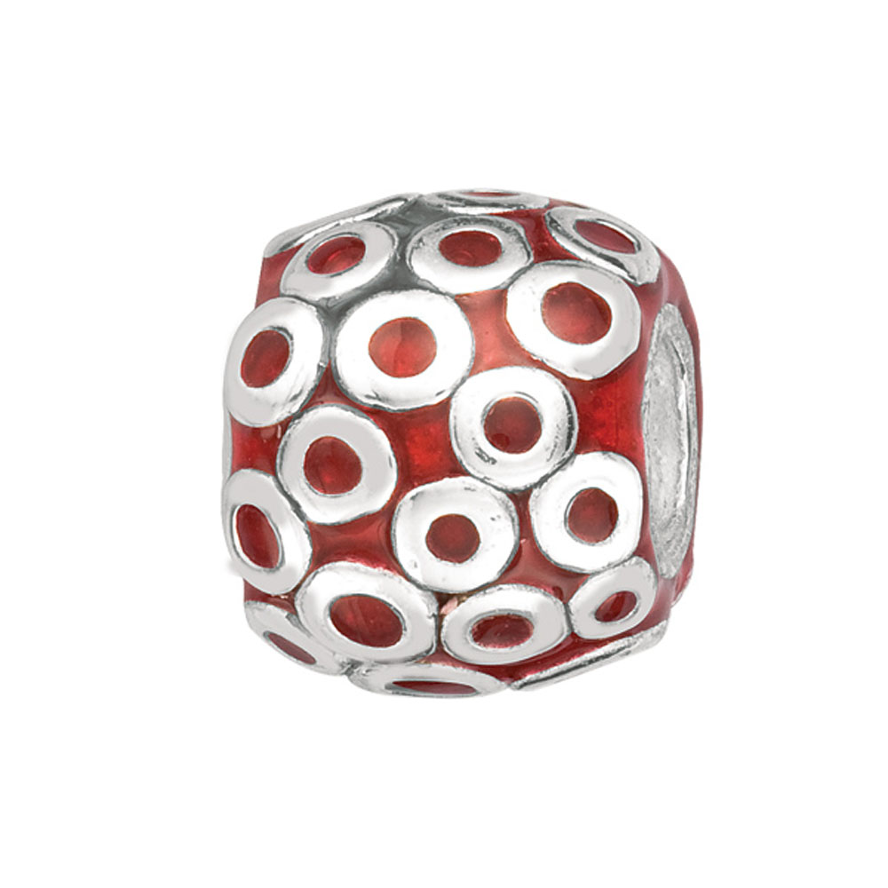 925 Sterling Silver Red Barrel Enamel Bead For Chamilia, Biagi