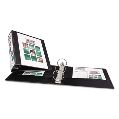 "Economy View Binder w/Round Rings, 11 x 8 1/2, 3"" Cap, Black, Sold as 1 Each"