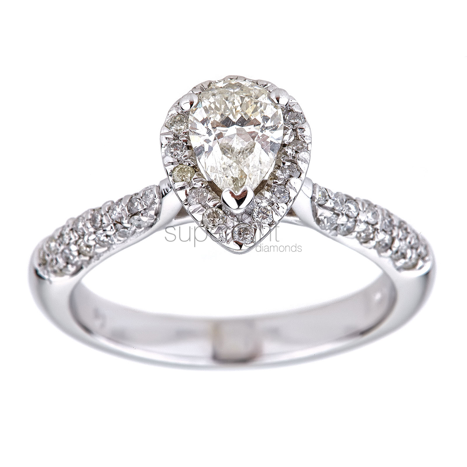 Certified 0.75 Ct I Color SI1 Pear Halo Design Diamond Ring 14K W Gold *360 VIDEO & PROFESSIONAL IMAGES INSIDE
