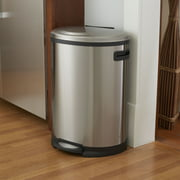 Household Essentials 13 Gallon Stainless Steel Aspen Oval Step Trash Can, 50 Liter