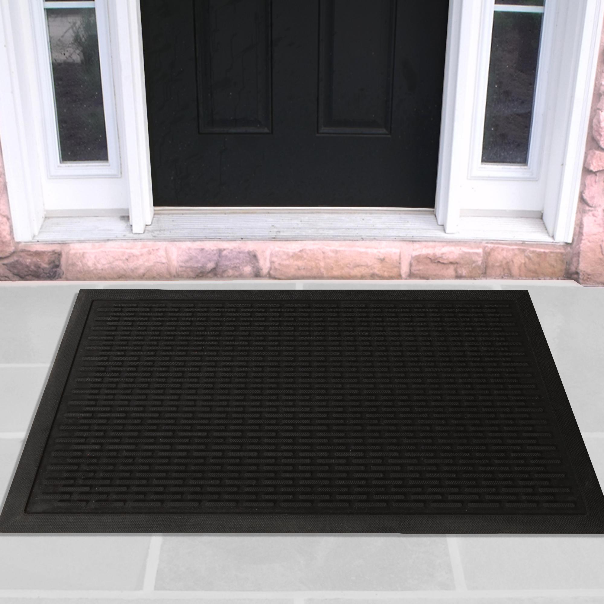 Rubber Entrance Scraper Doormat Entrance Rug Indoor/Outdoor Door mat, Shoe Scraper Entryway,Garage and Laundry room Floor Mat, Weather-Resistant