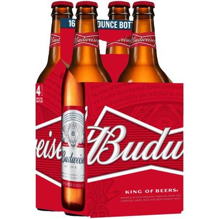 Budweiser Lager Beer, 4 pack, 16 fl oz Bottle