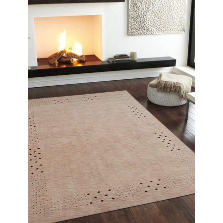 Rugsotic Carpets Hand Knotted Gabbeh Wool 8'x10' Area Rug Contemporary Beige L00530