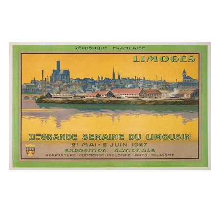 French Limoges Box - Ad for Limoges Fair, France Print Wall Art