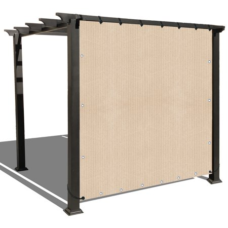 Banha Beige Sun Shade Privacy Panel with Grommets on 4 Sides for Patio, Awning, Window, Pergola or Gazebo  10' x 12'