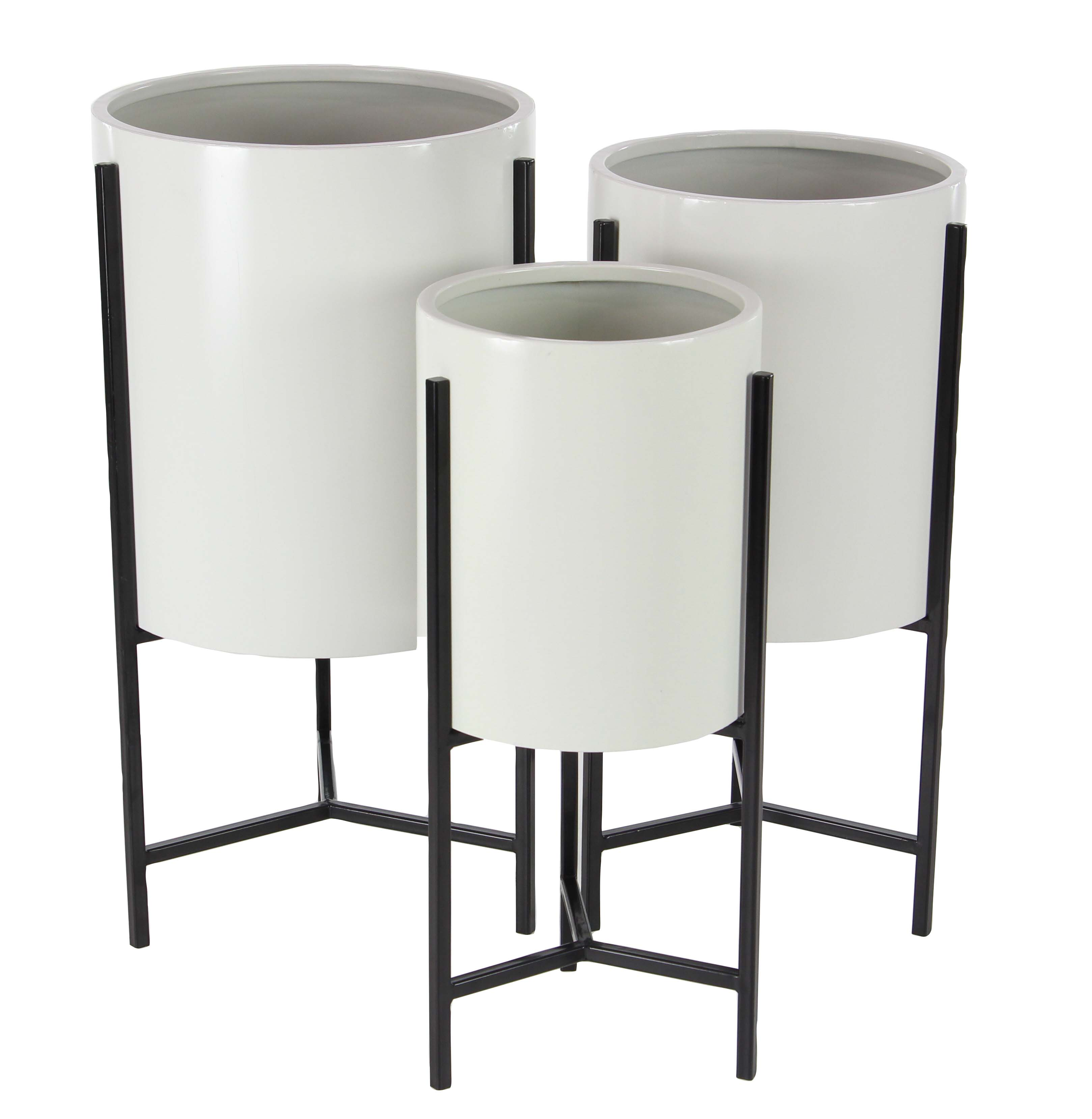 Decmode Set of 3 Modern Iron White and Black Drum Planters With Stand, White