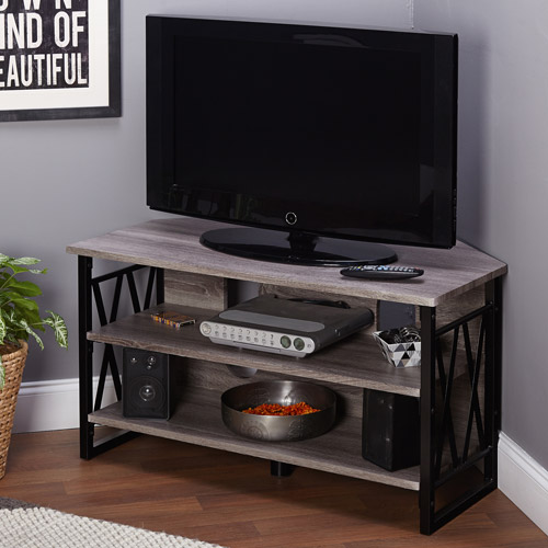 LenyXX Black/Grey Corner TV Stand for TVs up to 40""