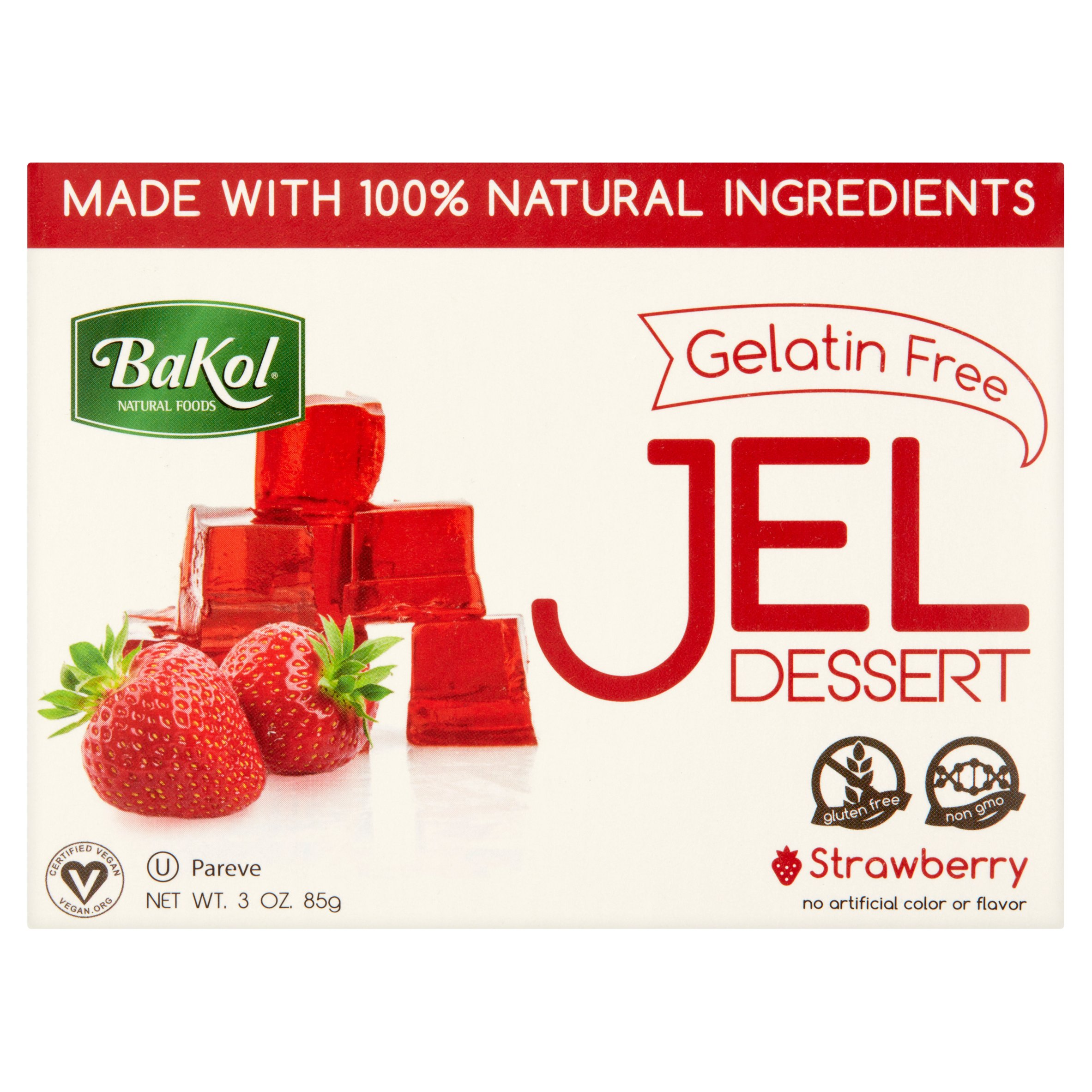 Bakol Gelatin Free Strawberry Jel Dessert, 3 oz by Bakol Foods