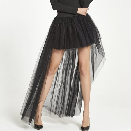 Women Layers Tulle Skirt Mini Tail Skirts Charming Ballet Tutu Dance Skirt High Waist Prom Ball Gown Skirts Black - Sparkle Skirts Promo Code