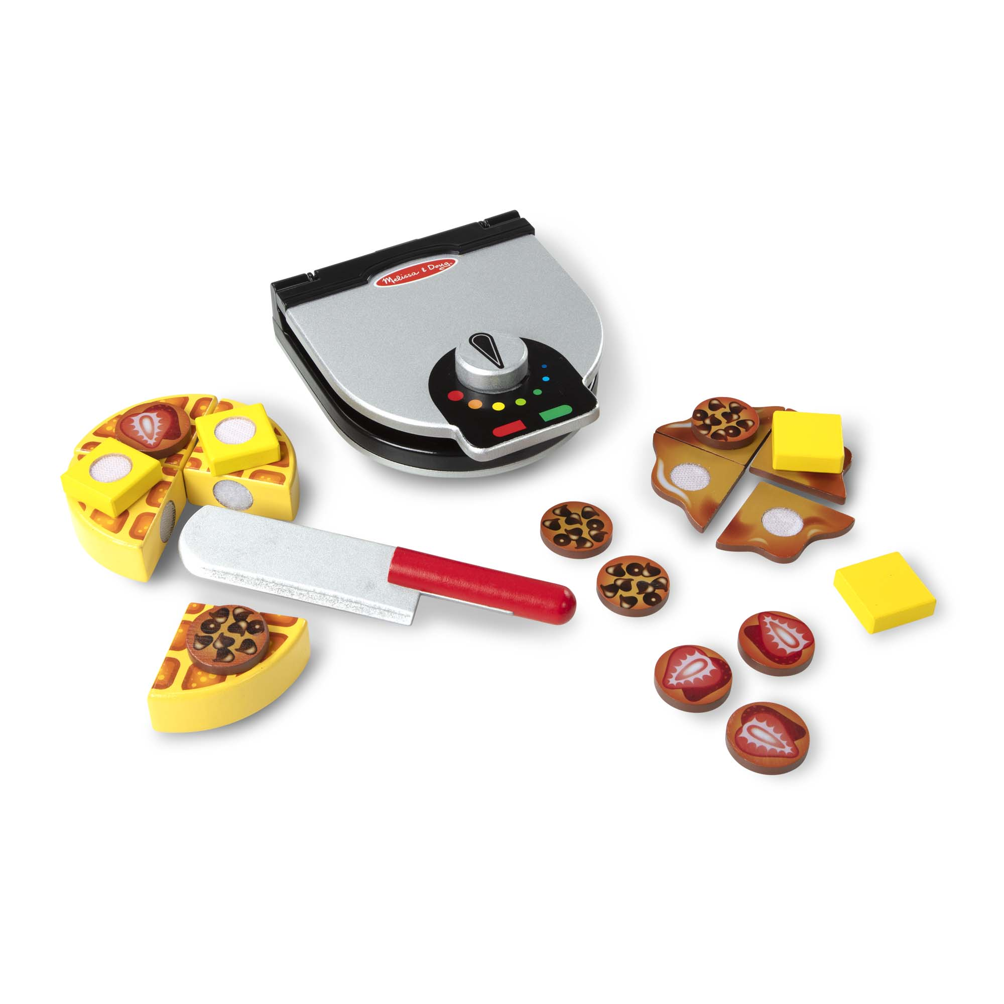 Melissa Doug Press And Serve Wooden Waffle Set 23 Pcs Play Food And Kitchen Accessories Walmart Com Walmart Com