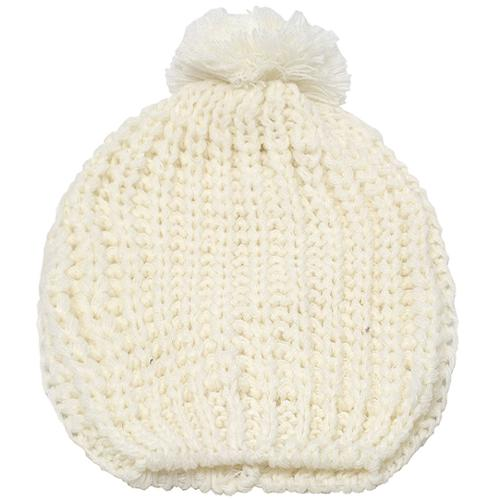 Girls Ivory Rib Stitch Pompom Bobble Beanie Hat