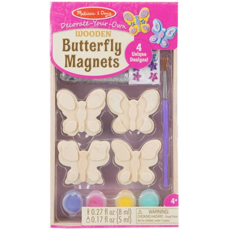 Melissa & Doug Decorate-Your-Own Wooden Butterfly Magnets Craft Kit ()