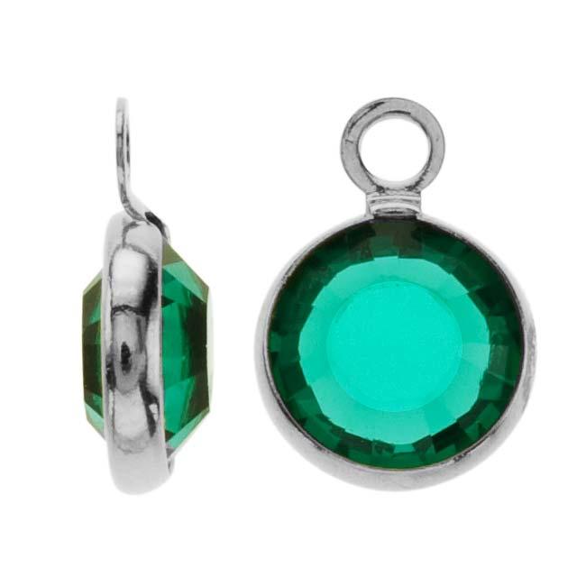 SWAROVSKI ELEMENTS Silver Plated Channel Crystal Charm Emerald 10mm (8)