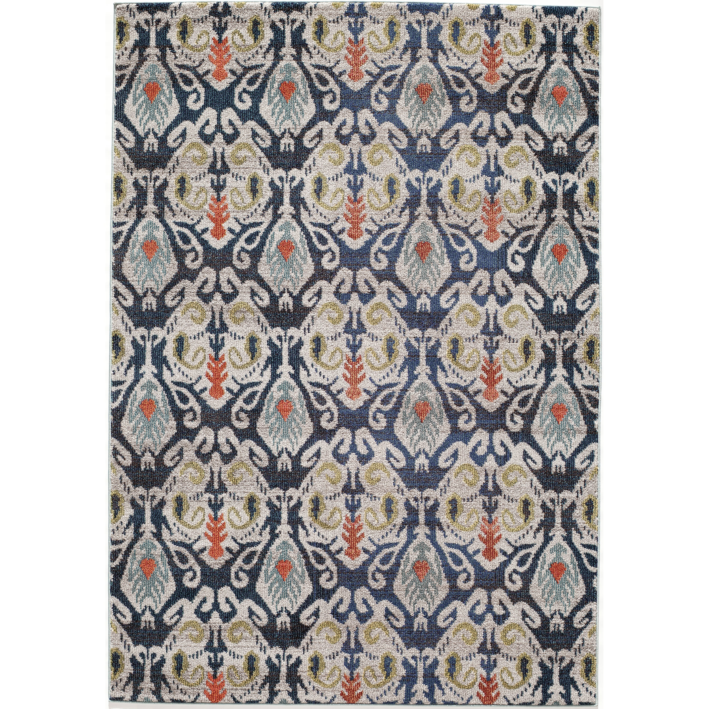 Momeni Abode Navy Power-Loomed Ikat Rug (7'10 x 9'10) by Overstock