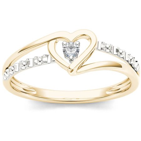 Large Split Rings - 1/20 Carat T.W. Diamond Split Shank Two-Tone Heart 10kt Yellow Gold Fashion Ring