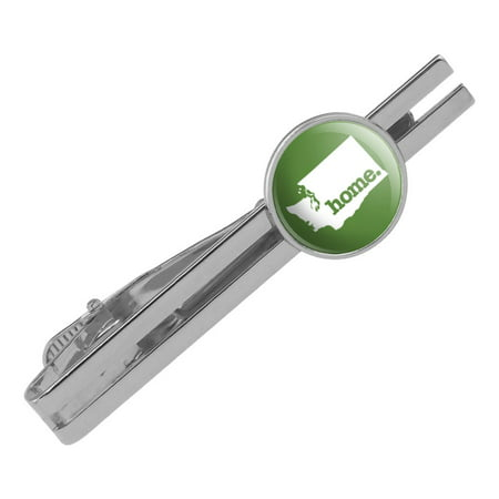 Washington WA Home State Solid Green Officially Licensed Round Tie Bar Clip Clasp Tack Silver Color Plated
