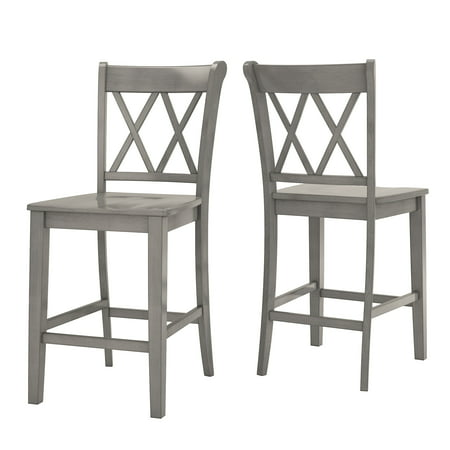 Oak Counter Height Side Chair - Weston Home Farmhouse Vintage Double X Solid Wood Counter Height Chair, Set of 2, Multiple Finishes