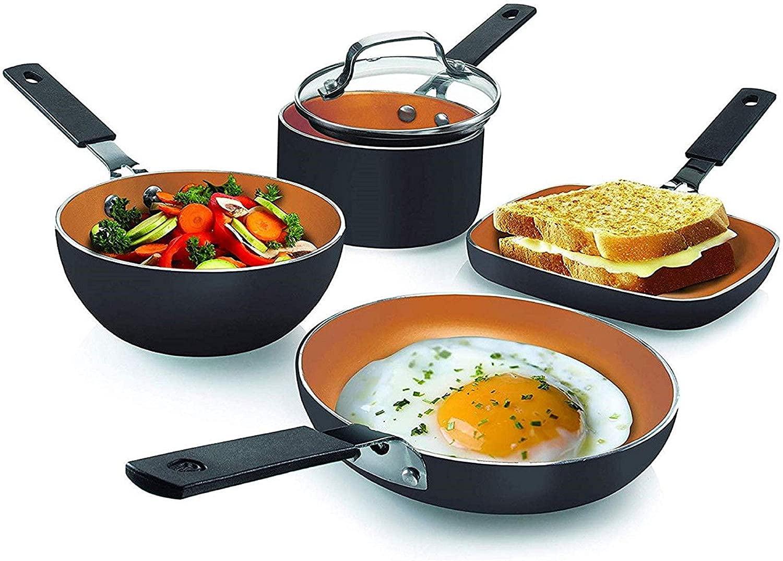 Gotham Steel 5-Piece Non-Stick Single Serve Cookware Set, Black