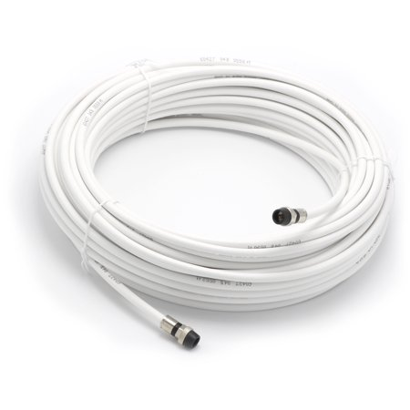 75' Feet, White RG6 Coaxial Cable (Coax), Made in the USA, with rubber booted - weather proof - outdoor rated Compression Connectors, F81 / RF, Digital Coax for CATV, Antenna,