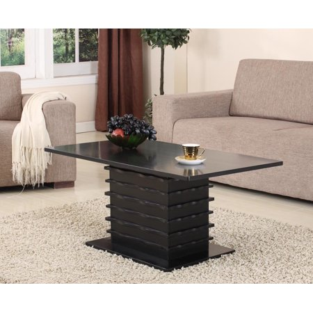Wooden Occasional Coffee - Leina Black Wood Occasional Cocktail Coffee Table (Wave Design)