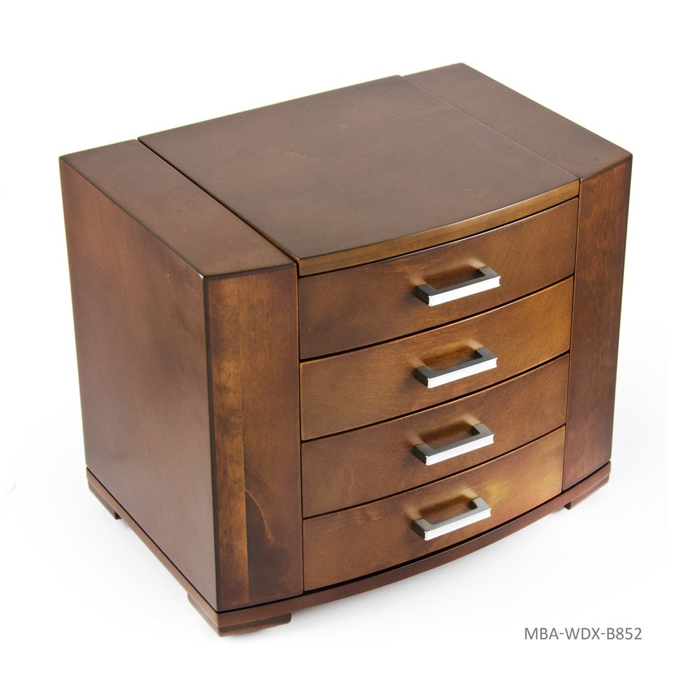 Stunning 18 Note Grand Modern Natural Wood Tone Musical Jewelry Box with Silver Hardware - Chariots of Fire