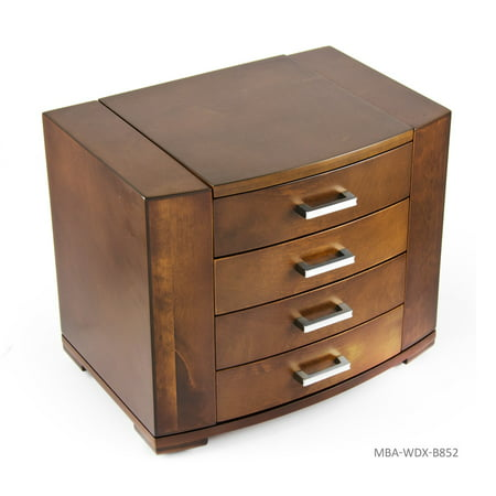 Stunning 18 Note Grand Modern Natural Wood Tone Musical Jewelry Box with Silver Hardware - Don't Cry For Me Argentina (Evita, A.L Webber) -