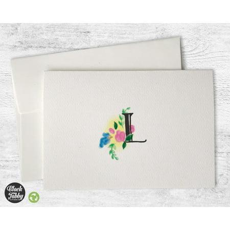 - Floral Monogram (Letter L) - Stationery Cards